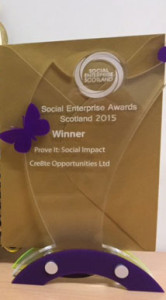 "Cre8te opportunities said it was ""delighted"" to receive the 2015 impact award from Social Enterprise Scotland"