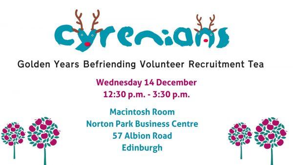 Golden Years Befriending - Volunteer Recruitment Tea @ Macintosh Room, Norton Park Business Centre   Edinburgh   Scotland   United Kingdom